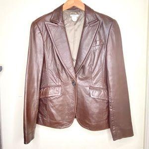 J. Crew Chocolate Brown Leather Jacket Blazer Coat
